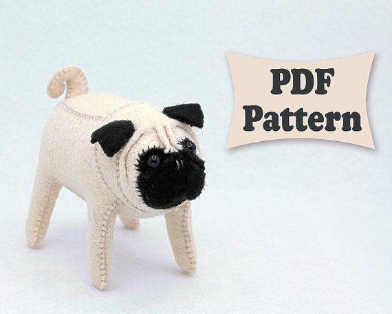 Felt Pug Dog Toy Sewing Patterns Pdf Felt Dogs Dog Template
