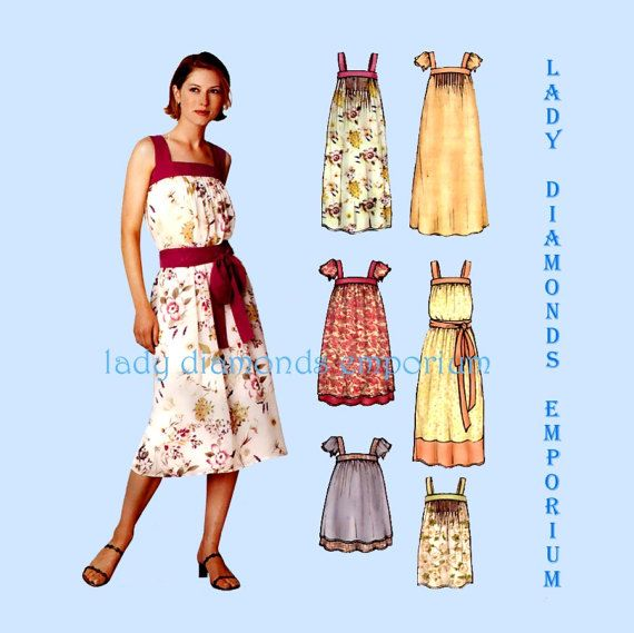 New Look 6239 Womens Babydoll Tunic Top Dress Sundress Muu Muu Tent ...