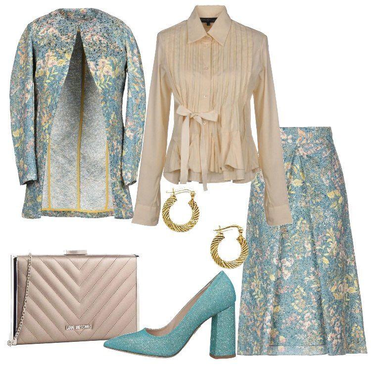 Verde acqua oro e beige per questo outfit perfetto per una cerimonia.  Consiglio di abbinare una stola in ecopelliccia nei colori del look, sarai  perfetta ed