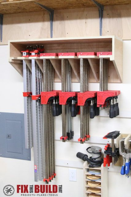 Space Saving Parallel Clamp Rack Woodworking Shop Plans Clamp Storage Shop Storage