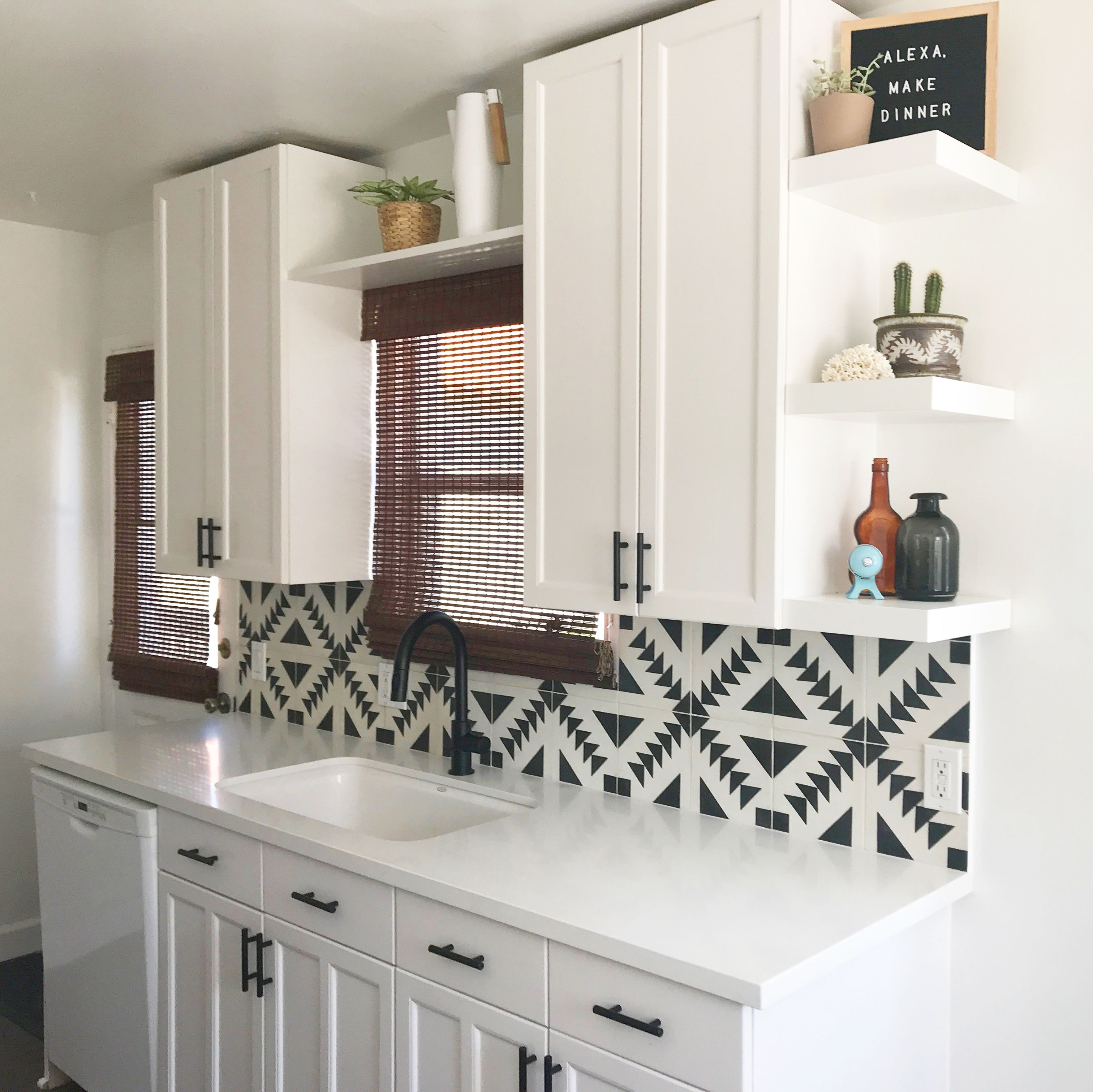 - White Modern Kitchen With Tulum Tile Backsplash From Cement Tile