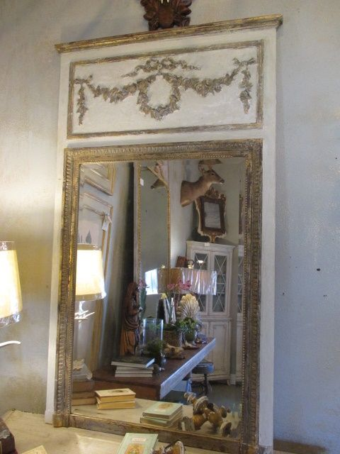 Antique French Trumeau Mirrors Large Wall Dresser Oval And