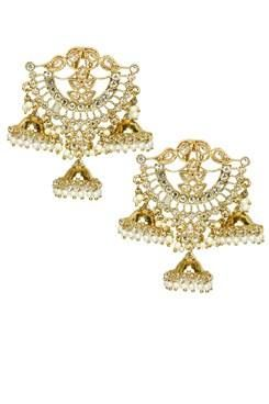 Shillpa Purii Designer Jewellery Gold Finish Uncut Stones Jhumki Drop Earrings €56.36