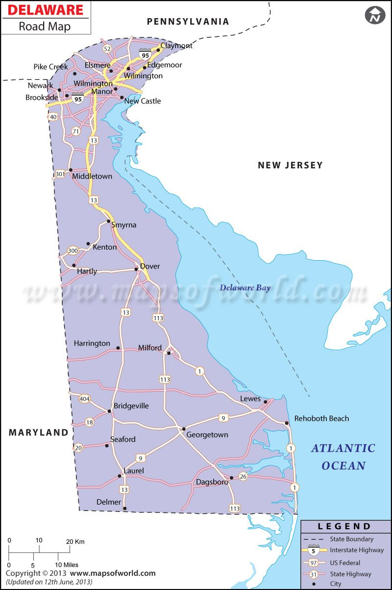 Delaware Road Map World Information Pinterest Delaware And City - Delaware cities map