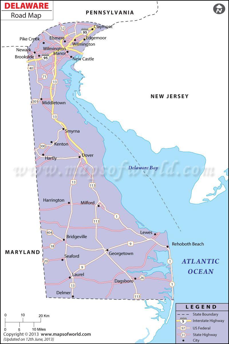 Delaware Road Map World information Pinterest Delaware and City
