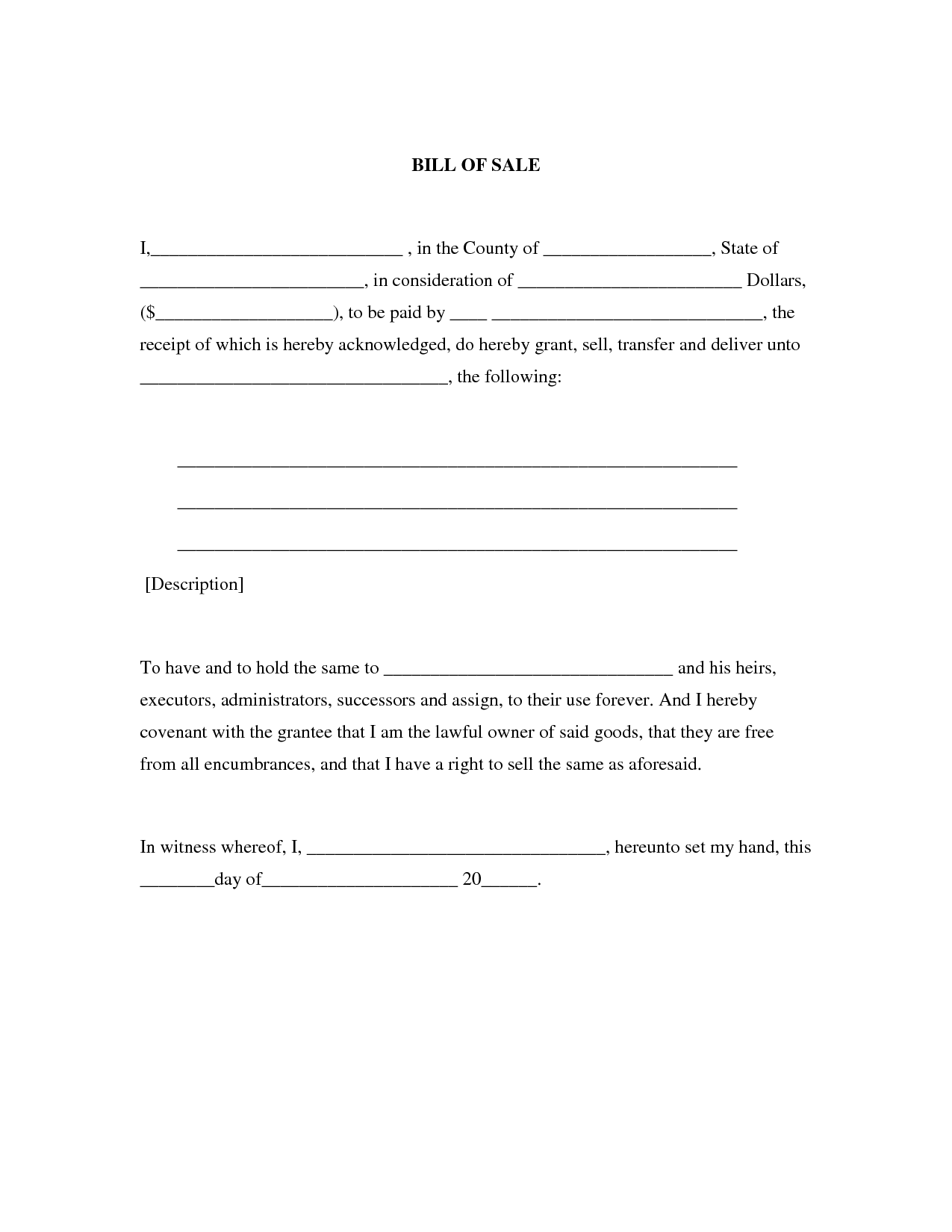 Bill of Sale Print Out | Generic Bill of Sale | Stuff to Buy ...