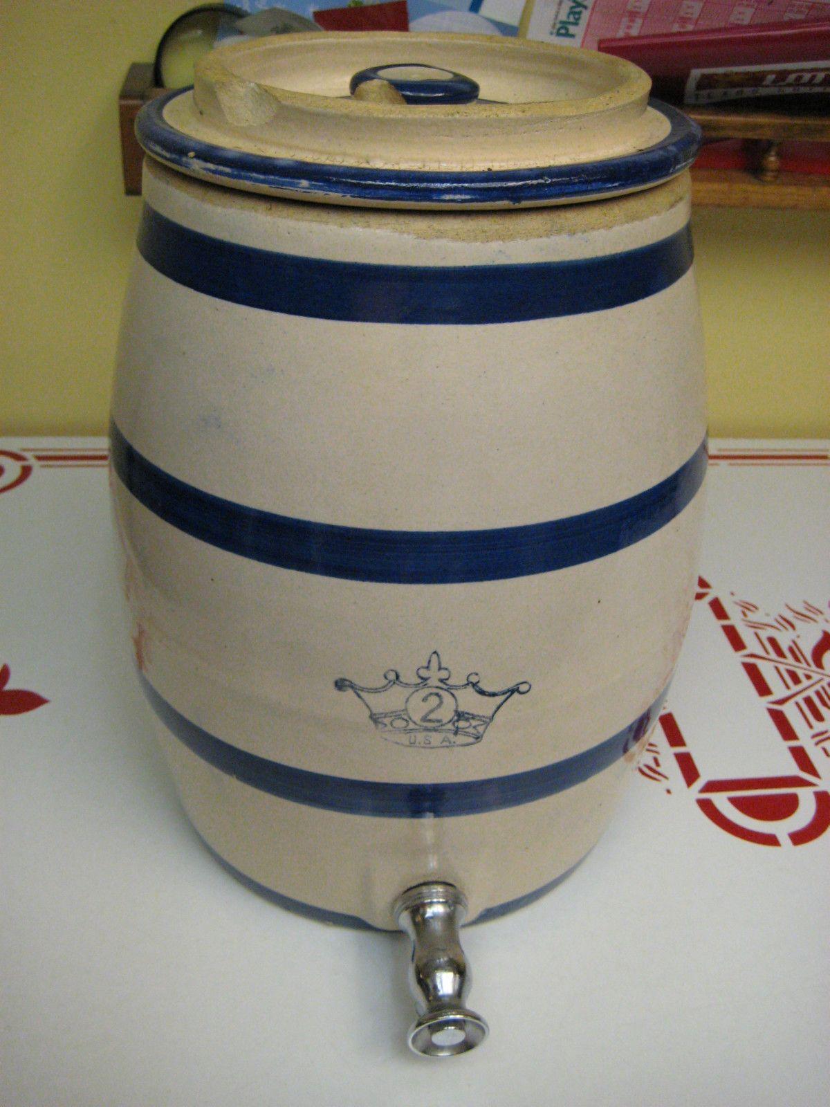 vintage crown stoneware salt glazed beverage cooler crock | Is this ...