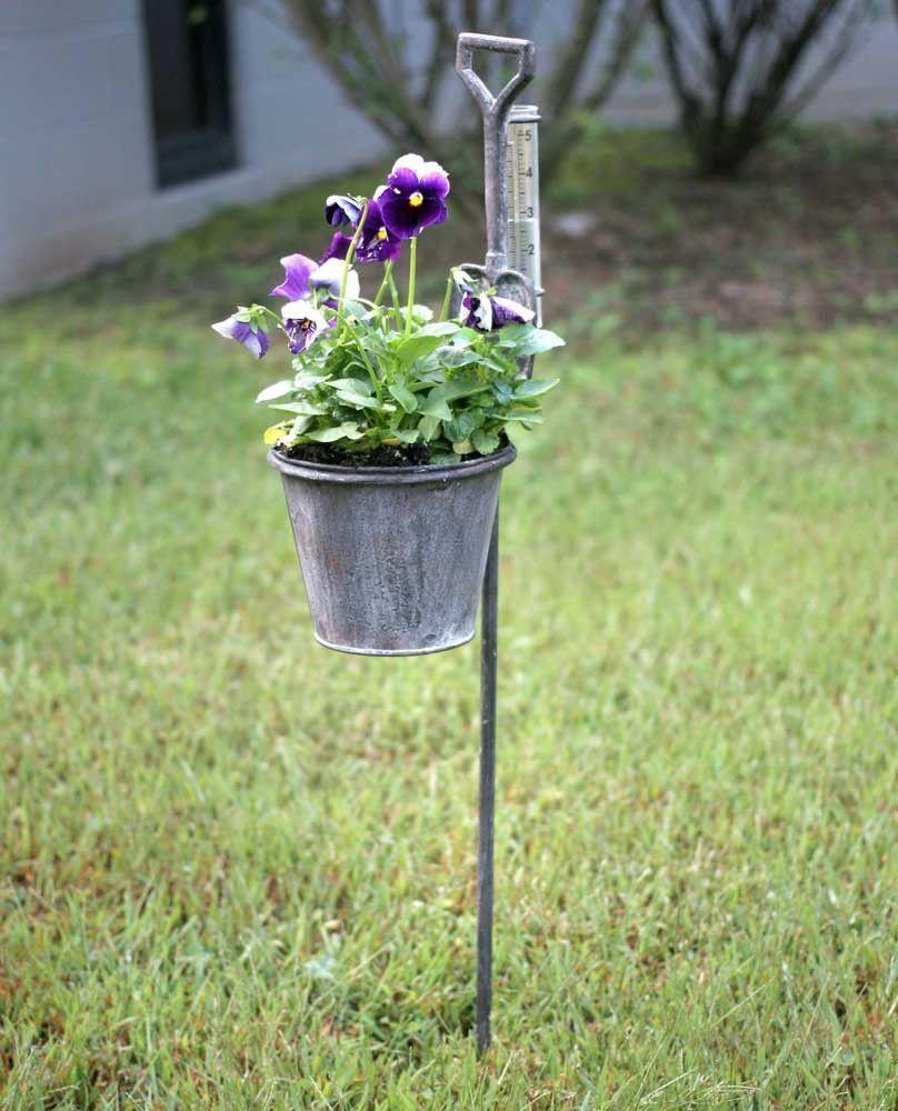 Spade Garden Stake Planter with Rain Gauge - SET OF 2 | Rain gauge ...
