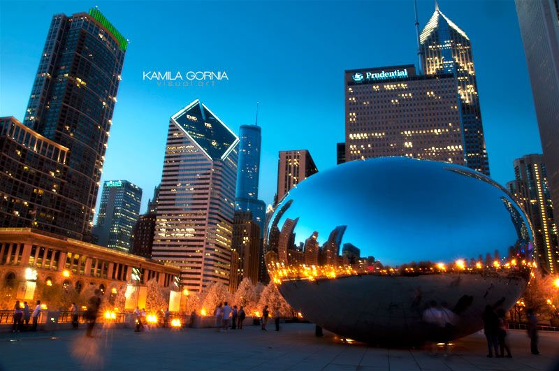 Chicago Bean by kamilagornia.com/art/ #chicago #photography #night