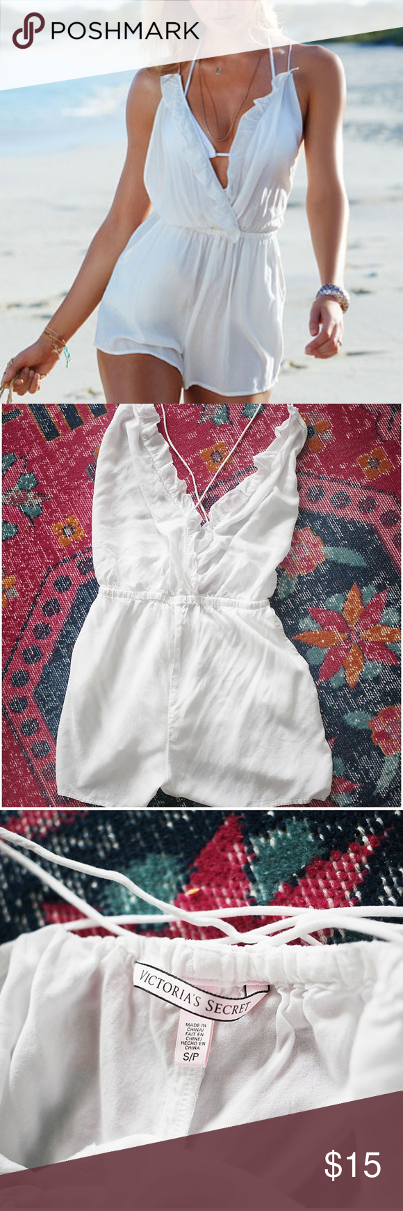 809f7fa5e12 Victoria s Sevret Ivory Ruffle Cover-Up Romper Absolutely adorable romper  in beautiful condition. One