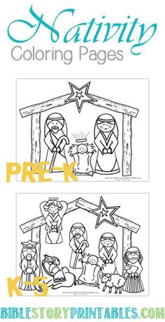 Easy Color Nativity Coloring Page And Individual Pieces Of The