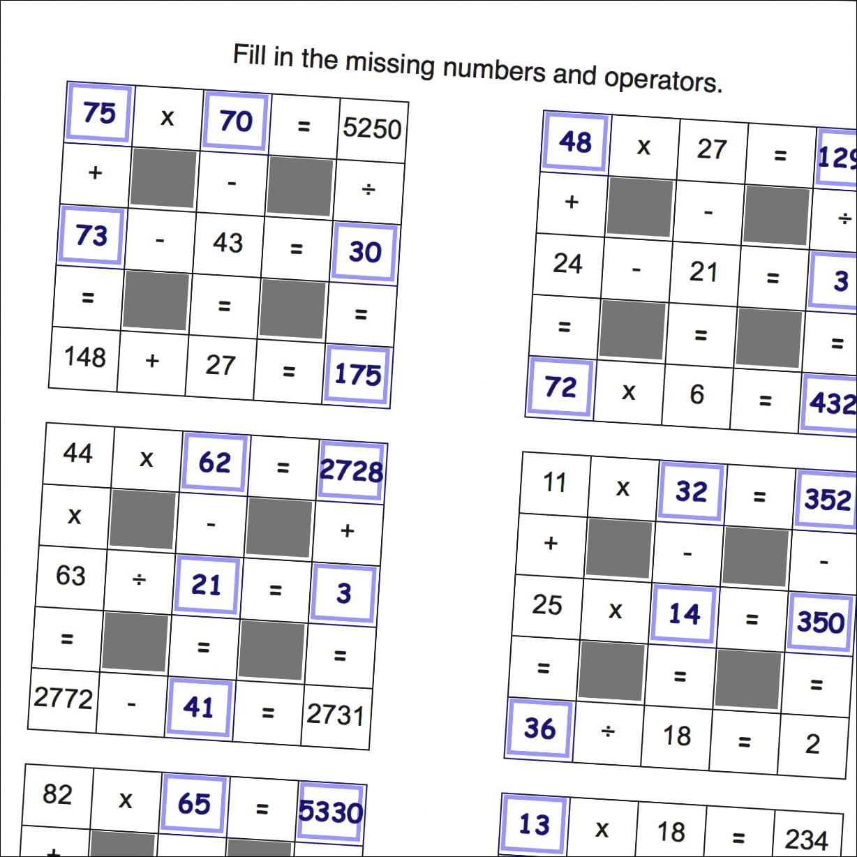 Math Puzzle Worksheets That Require Students To Fill In