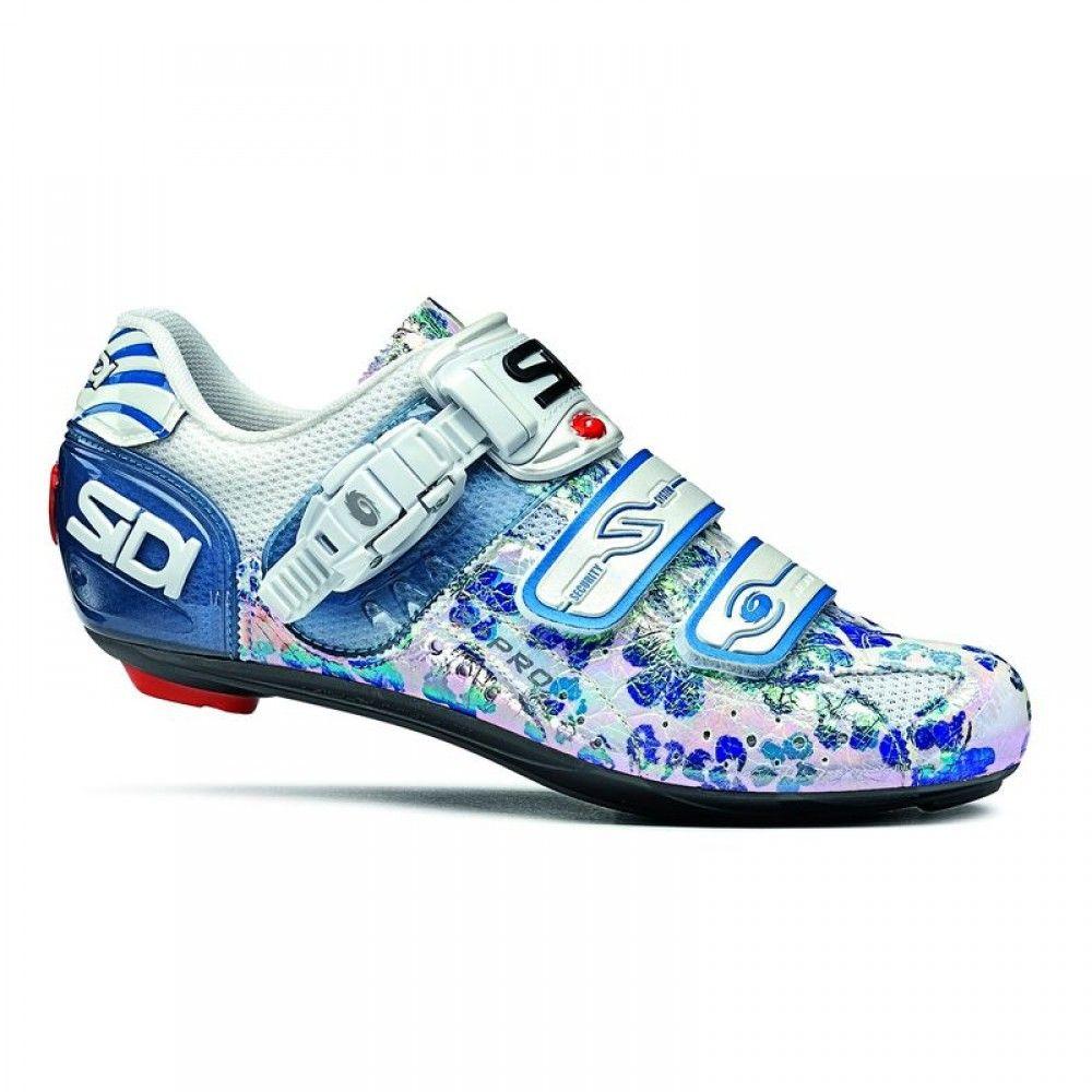 8748c00c9c6 Next road shoe  SiDi Genius 5 Pro Woman White Blue Flowers