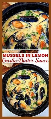 Mussels drenched in Lemon GarlicButter Sauce makes the perfect appetizer before Mussels drenched in Lemon GarlicButter Sauce makes the perfect appetizer before