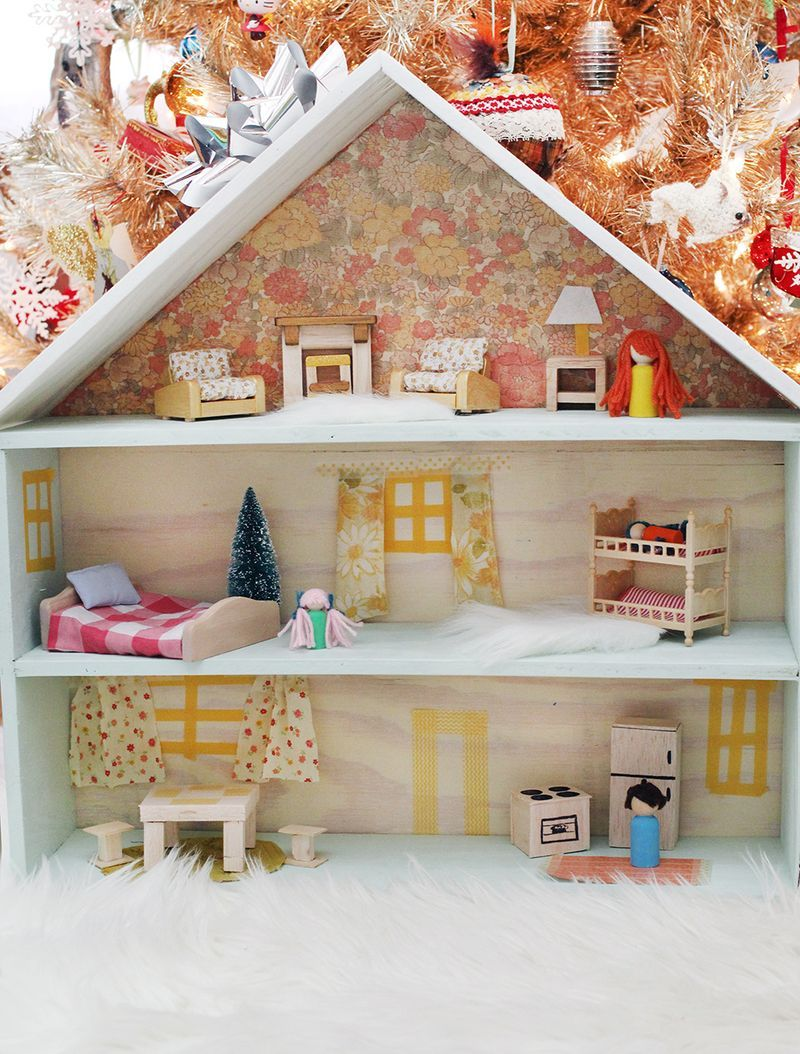 Design Make Your Own Dollhouse i love the way she made furniture curtains and little simple a beautiful mess tutorial sweetest diy dollhouse click through for full tutorial