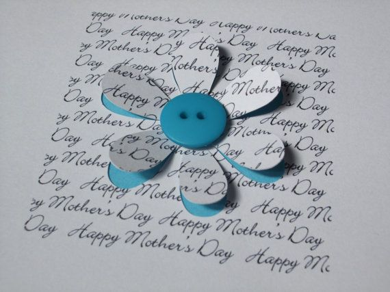 Mothers Day Cardbutton flower  Paper Cut  Hand Cut  Handmade Greeting Card for Mum  Mom