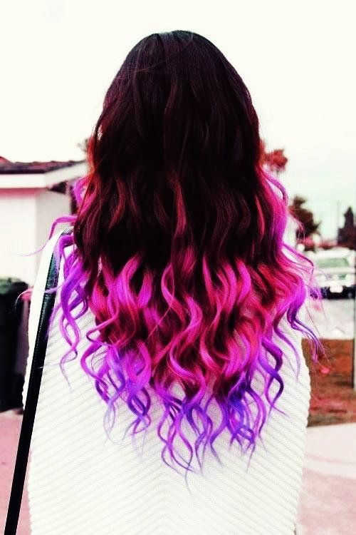 Fashion Black To Purple Ombre Hair Extensions Black To Purple