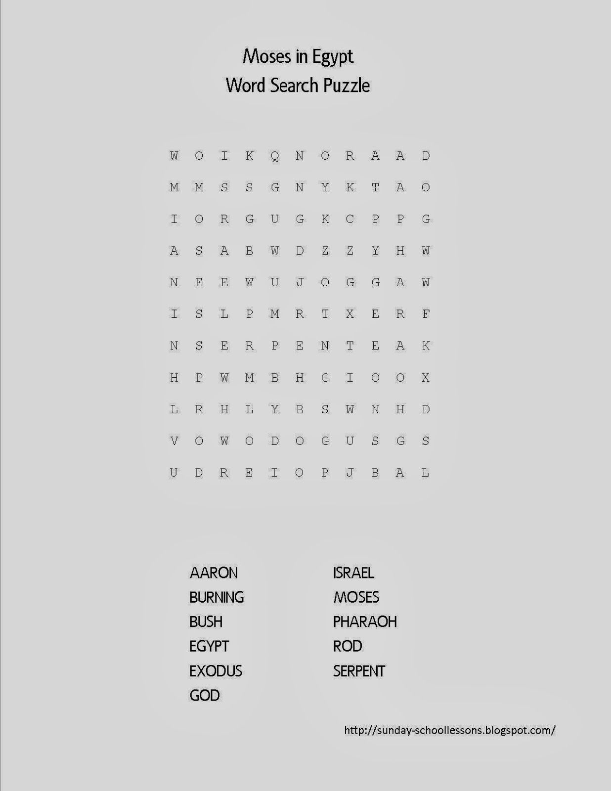 Moses in Egypt Word Search Puzzle - FREE Sunday School
