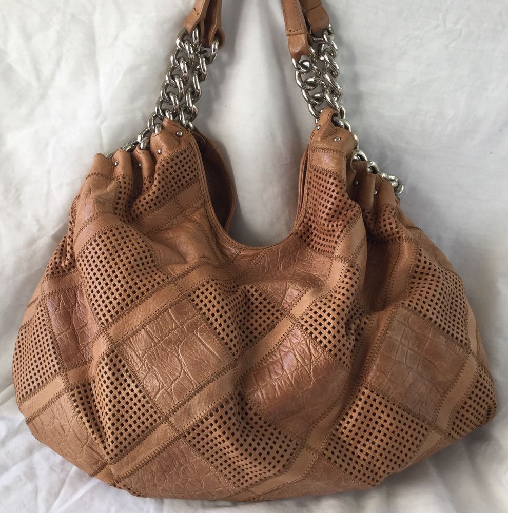 B Makowsky Large Slouch Hobo Bag Tan Leather Silver Chain/Leather ...