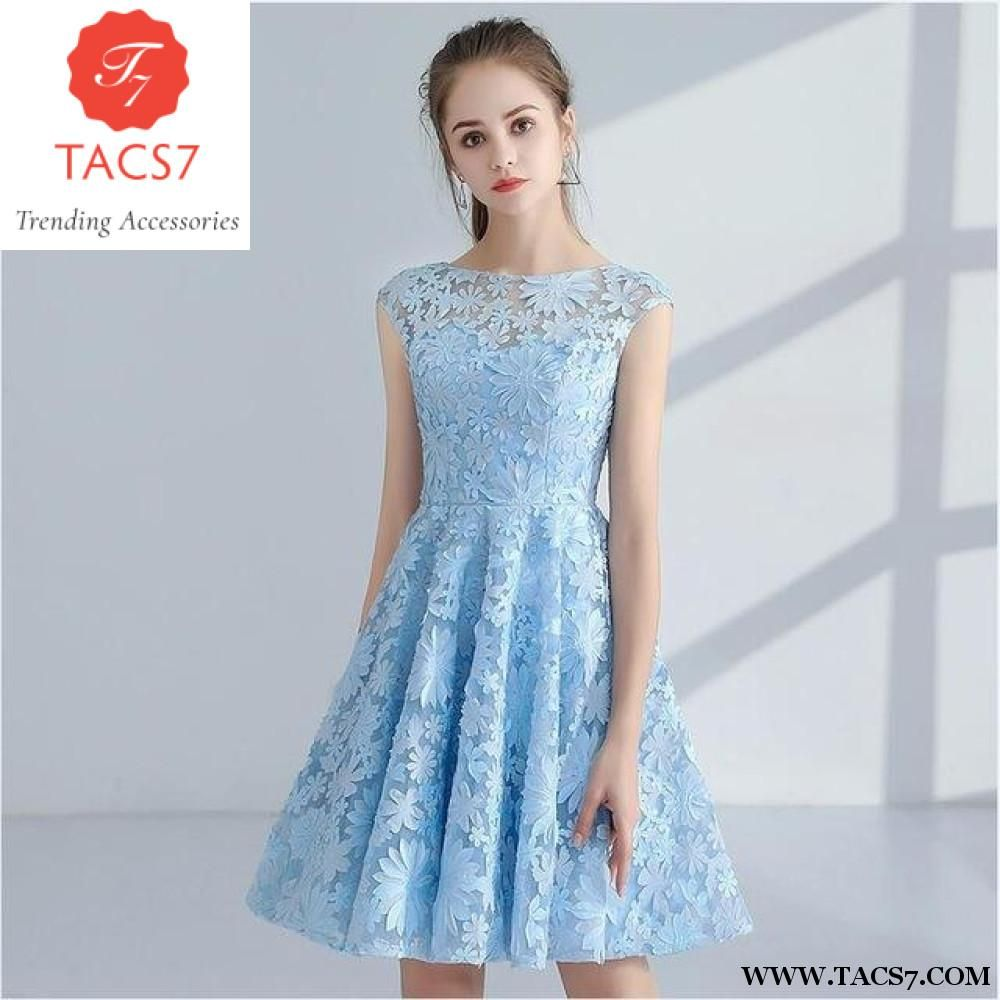 Short front long back evening gown tacs party dress cocktail