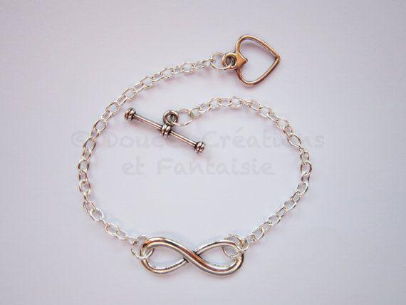 Bracelet argenté Infini coeur métal argenté par DoucesCreations