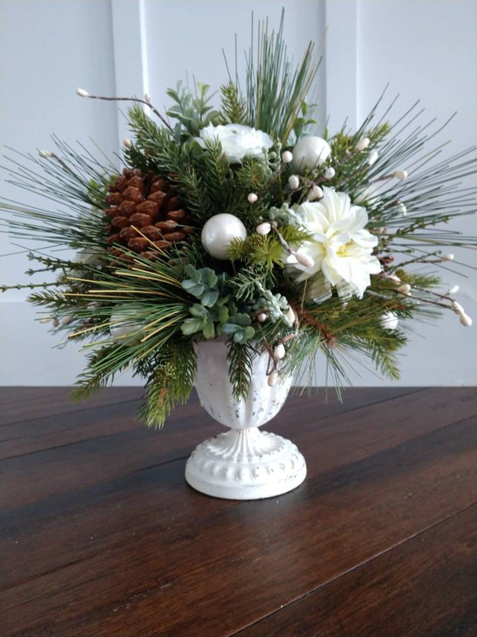 Large Farmhouse Christmas Floral Arrangement Winter Etsy Christmas Floral Arrangements Christmas Arrangements Christmas Floral