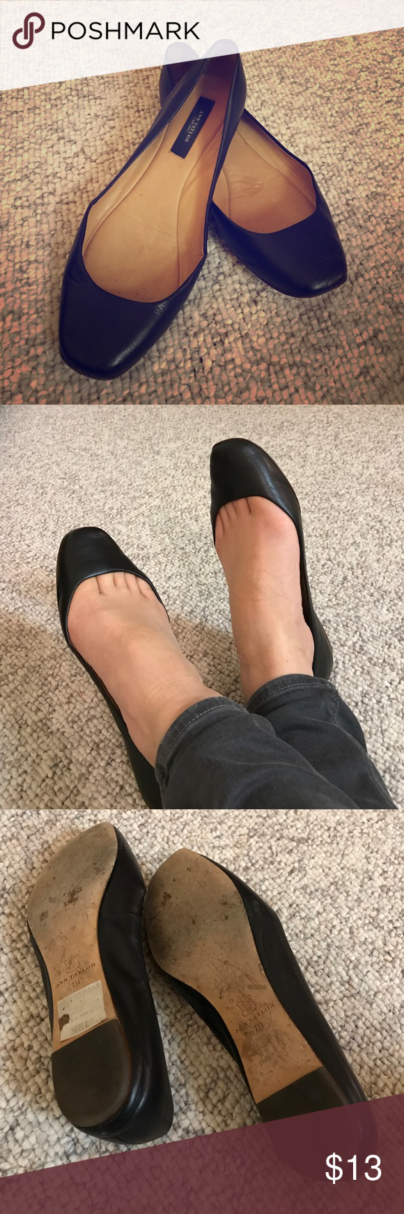 00bf51b1785 Ann Taylor Black Perfect Flat Elle - size 7 Black soft Leather flats with  sexy toe cleavage