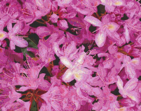 Rhododendron Flowers Cross Stitch Pattern by Avalon Cross Stitch on Etsy