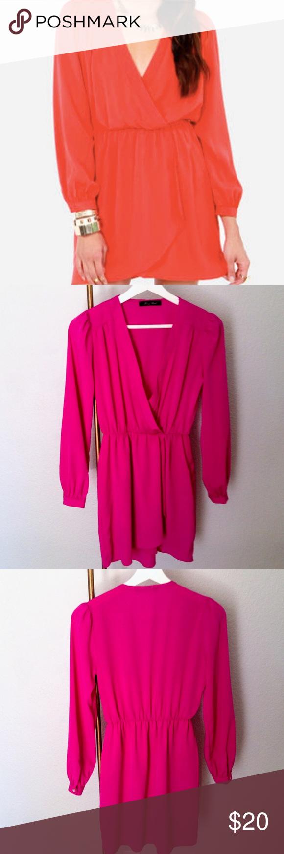 Honey punch pink faux wrap dress faux wrap dress pink long sleeve
