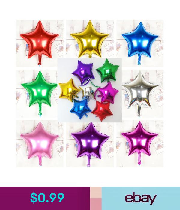 5 X Foil Helium Balloons Birthday Party Air Round Solid Colour Star Glitz Shape
