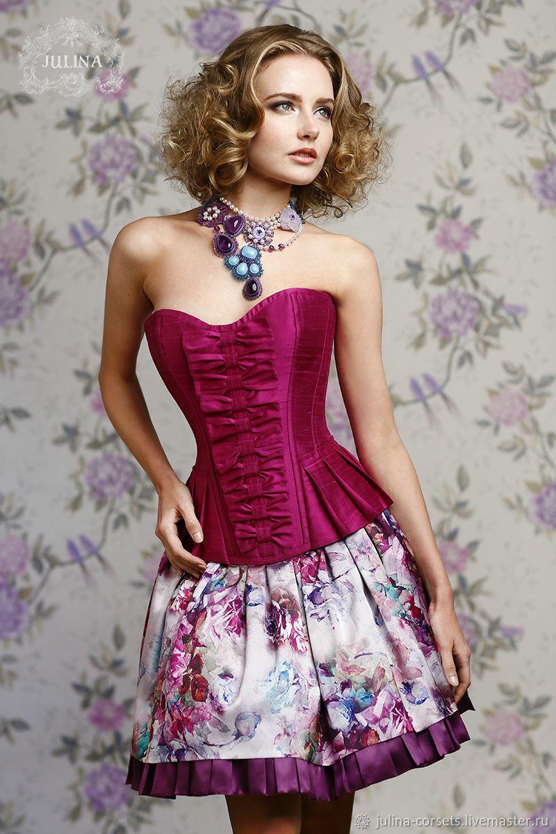6603d00f797 Платья ручной работы. Платье корсетное из натурального шелка