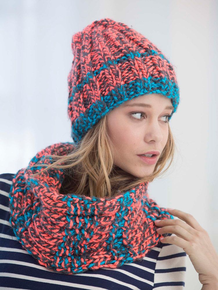 Ribbed Slouchy Hat And Cowl in Lion Brand Hometown USA Multi - L40020.  Discover more Patterns by Lion Brand at LoveKnitting. The world s largest  range of ... 389304f87e7