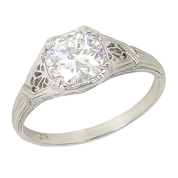 We Are Pleased To Offer 0 Financing Through Paypals Bill Me Later Program Balances Pai Art Deco Fashion 18 Karat White Gold Diamond Solitaire Engagement Ring