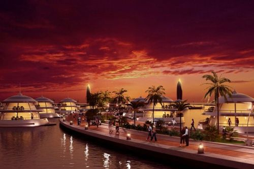 """hotel that is on the lips of many, will make an appearance in Qatar very soon.     It will be a semi submerged resort named """"Amphibious"""". The project of the hotel was designed by the Italian company Giancarlo Zema design group, which specializes in yacht, houseboat and semi-submersible architectural structures."""