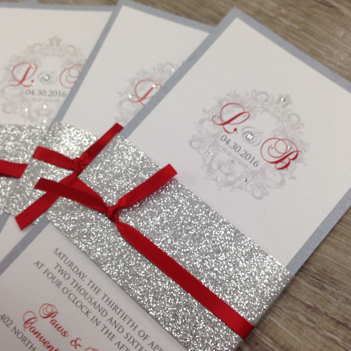 red silver and white glitter wedding invitations