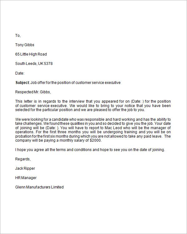 Job Proposal Letter Letter Of Employment Offer  Template  Pinterest
