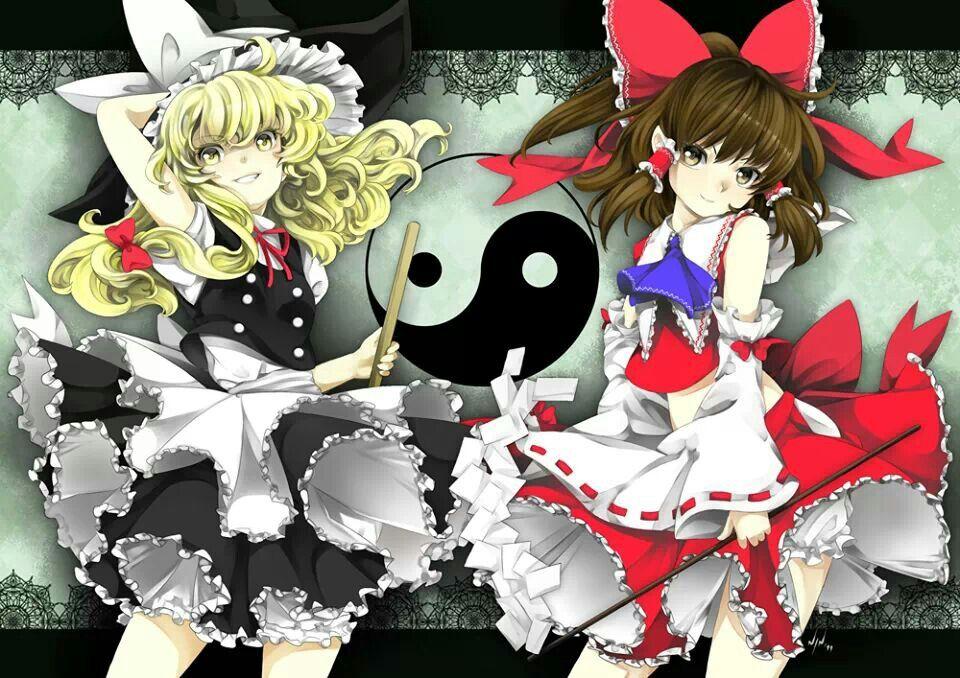 Reimu and Misaka - Touhou by Ninamo-chan