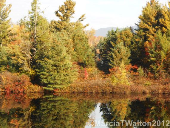 Chub River Reflections Mill Pond Autumn by AdirondackMtnImages, $30.00