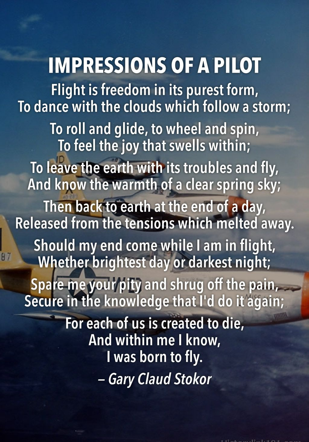 """Impressions of a Pilot """"Flight is freedom in its purest"""