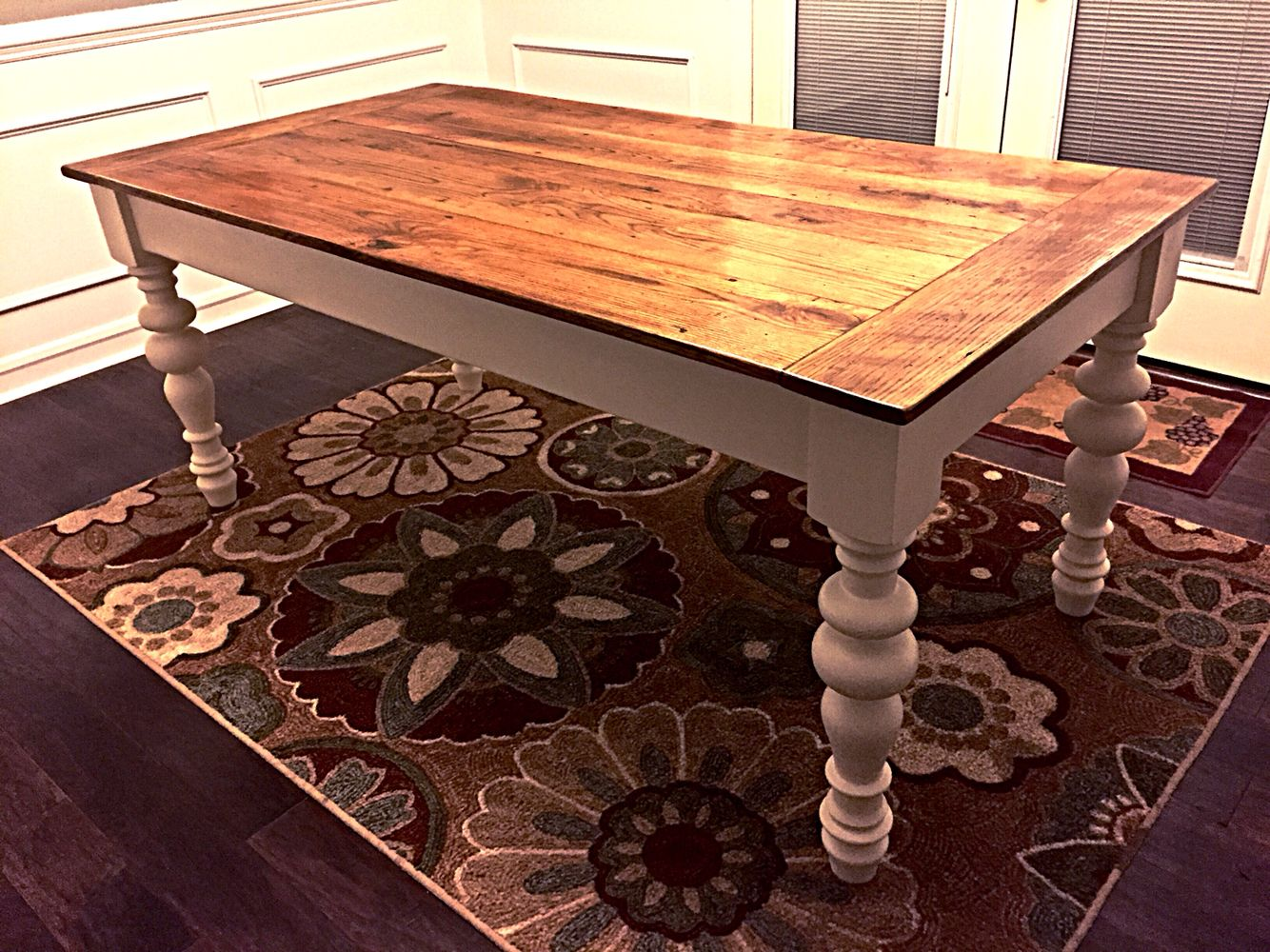 Solid Oak Farmhouse Dining Table Built From Reclaimed Barnwood