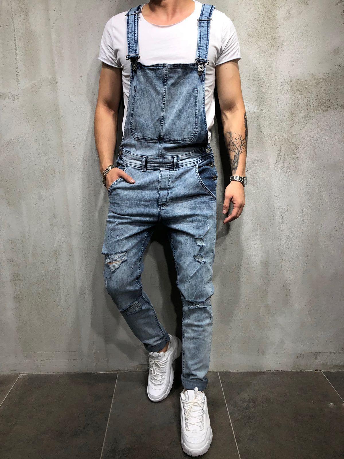 224b4f802ca0 Men Denim Overall Bib Jumper Jeans - Blue 3884  Mensoutfits ...
