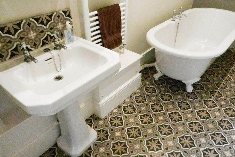 Tiled bathroom floor | Bathroom floor tiles, Tile bathroom ...