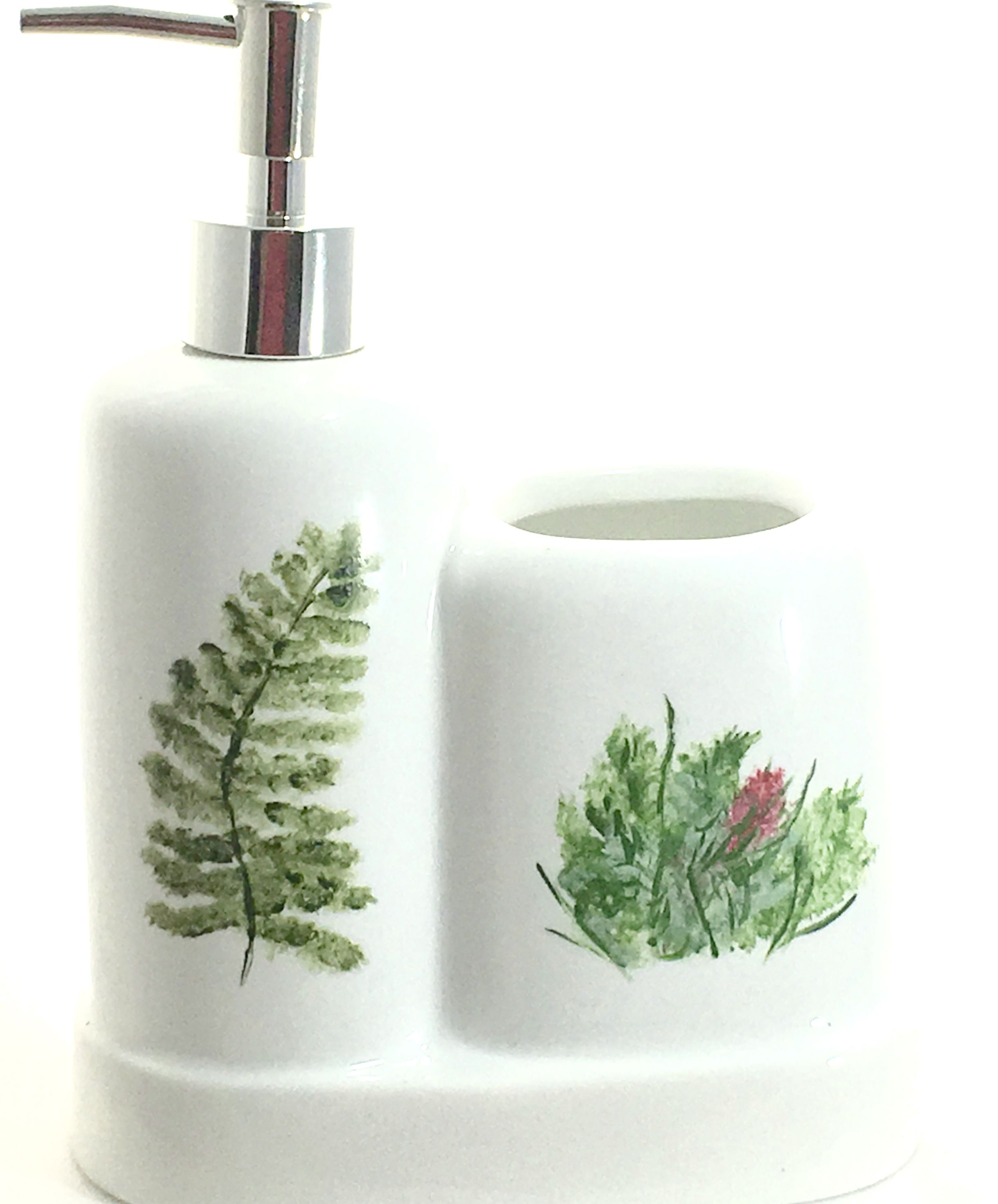 Porcelain Soap Dispenser Toothbrush Holder Yellow Flowers  http://handpainted-glasses.com/shop/fernbrpiece