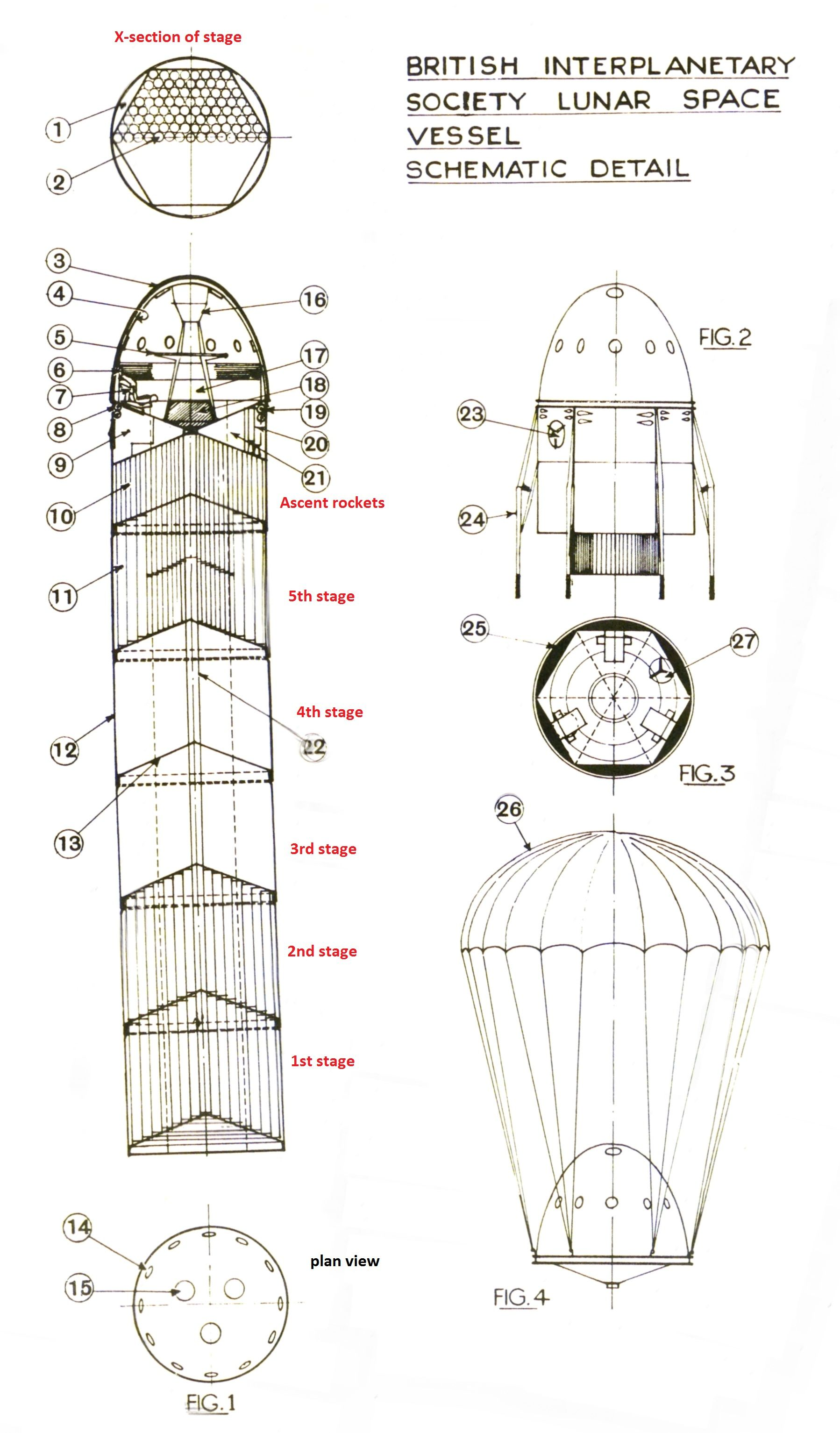 1939 schematic of a 5 stage rocket spaceship to land on and return from the moon by the british interplanetary society artist r a smith  [ 1798 x 3067 Pixel ]