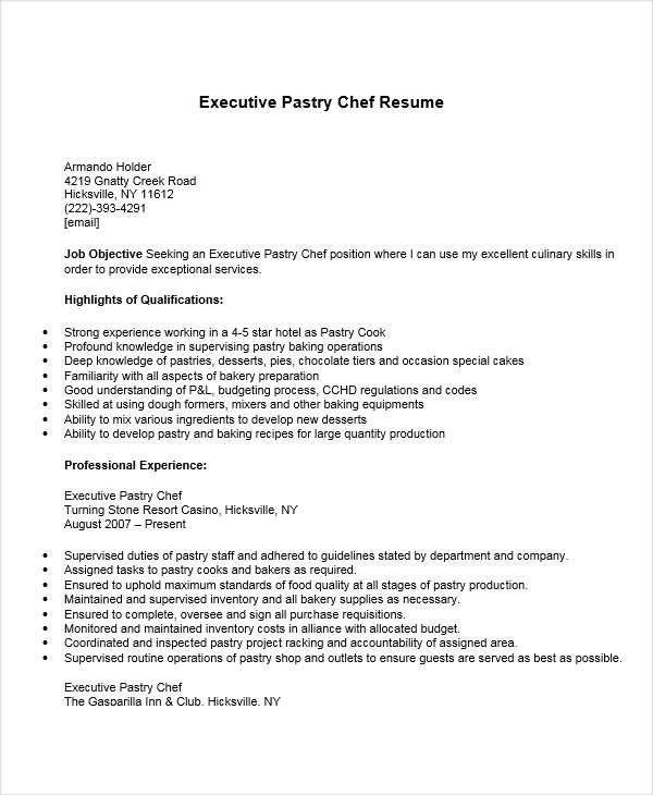 resumebaking sample executive chef resume pastry samples Home - chef resume