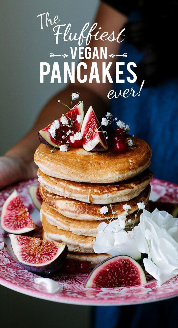 The Fluffiest Vegan Pancakes Wallflower Kitchen Recipe Vegan Pancakes Fluffy Vegan Pancakes Tasty Pancakes