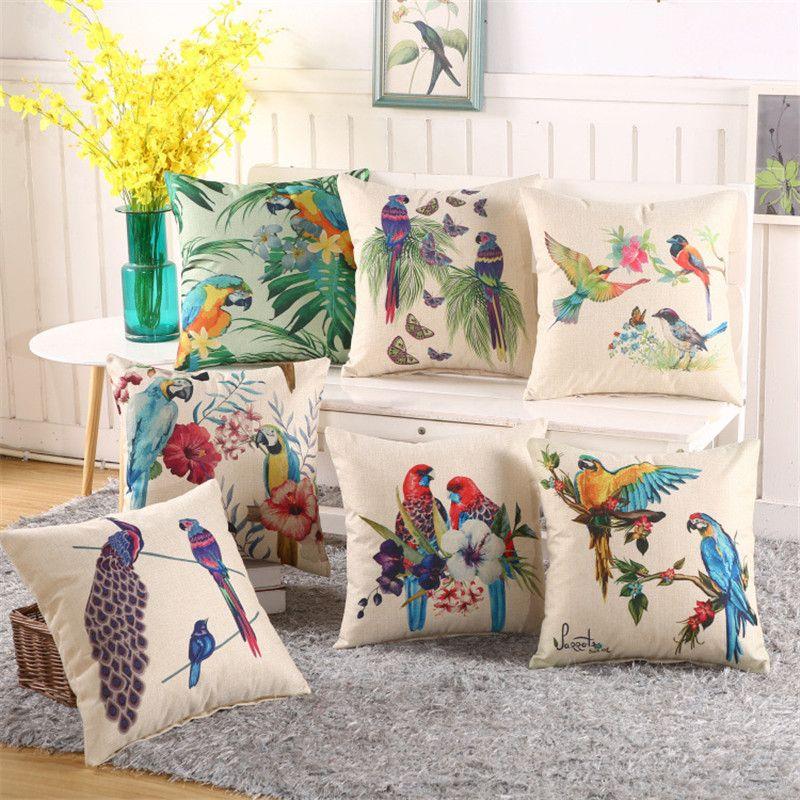 Fleurs Oiseaux Motif Coton Lin Taie d/'oreiller Bureau Housse de coussin Home Decor