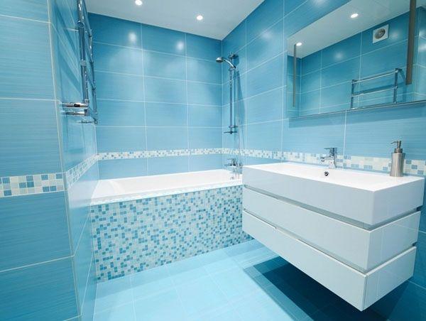 associer carrelage mural et mosaïque pour une salle de bain ... - Salle De Bain Mosaique Bleu