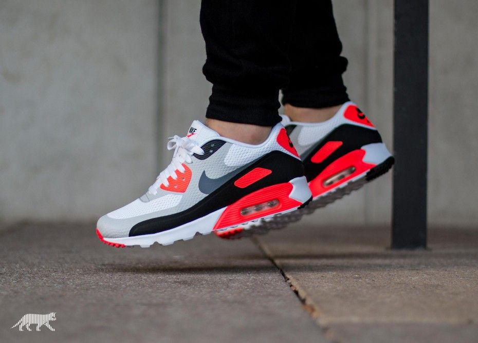 Men's Nike Air Max 90 Ultra Essential White Cool Grey Infrared Black Sneakers : C79a2553