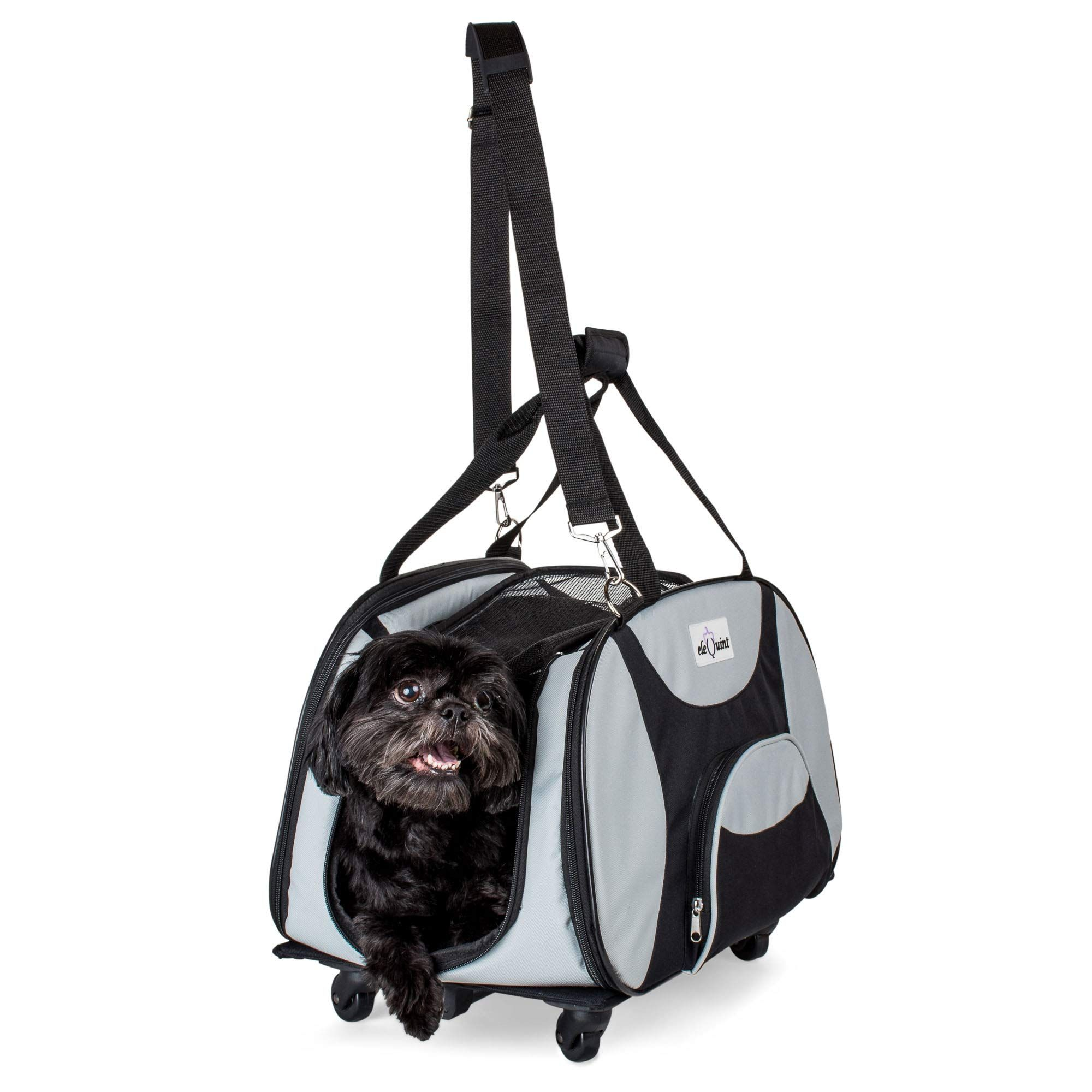 d7595253ee3c eleQuint Soft Sided Travel Pet Carrier with Detachable Wheel ...